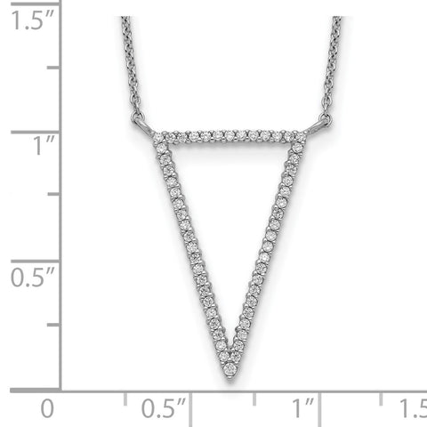 Sterling Silver Triangle CZ Necklace-WBC-QG5511-18