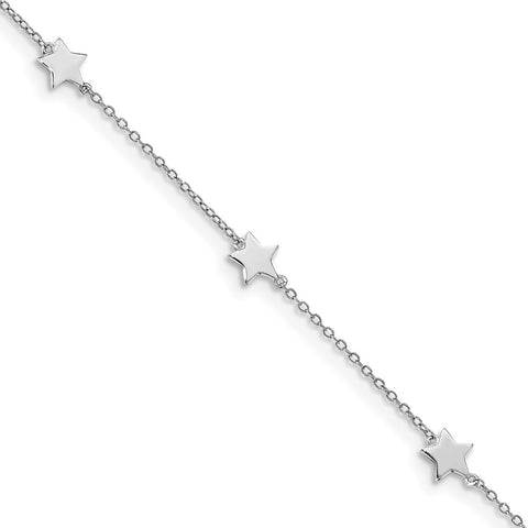 Sterling Silver Rhodium-Plated Stationed Star with 2in Ext. Anklet-WBC-QG5668-8.5