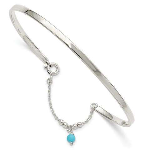 Sterling Silver Turquoise Bead Bangle Anklet-WBC-QG5761
