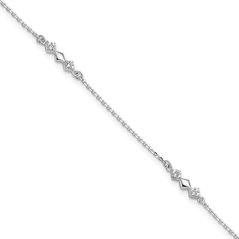 Sterling Silver CZ 3-Diamond Shapes 9in Plus 1 in Ext. Anklet-WBC-QG5763-9