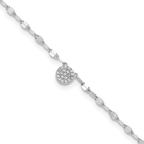 Sterling Silver Rhodium-plated Polished CZ Anklet-WBC-QG5764-10