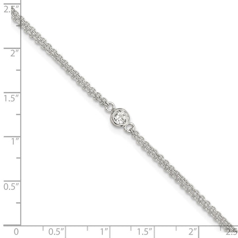 Sterling Silver Bezel CZ 2-Strand 9in Plus 1 in Ext. Anklet-WBC-QG5766-9