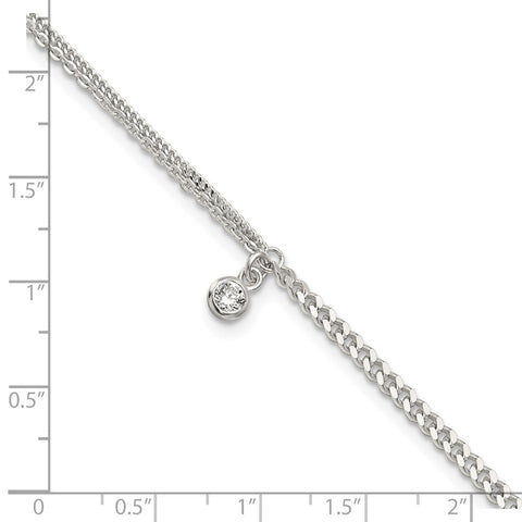 Sterling Silver CZ Fancy Chain 9in Plus 1in Ext. Anklet-WBC-QG5767-9