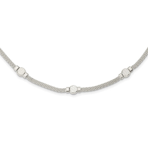 Sterling Silver Mesh Fancy Necklace-WBC-QG5995-18