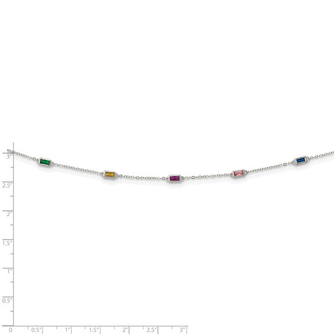 Sterling Silver Rhodium-plated Polished Multi-color CZ Necklace-WBC-QG6034-18