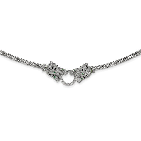Sterling Silver Rhodium-plated Polished Tigers Holding Ring CZ Necklace-WBC-QG6037-18