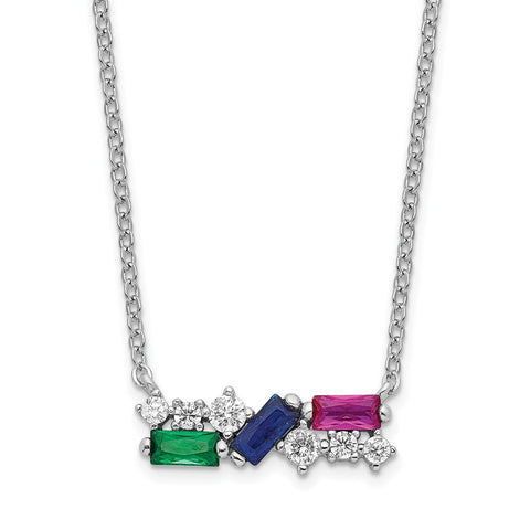 Sterling Silver Rhodium-plated Polished Multi-color CZ Necklace-WBC-QG6101-18