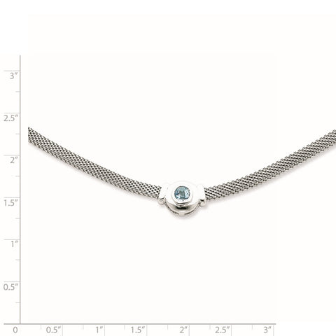 Sterling Silver Blue Topaz and Mesh Fancy Necklace-WBC-QG940-16