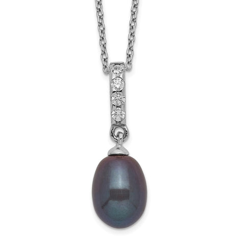 Sterling Silver Rhod-plat 8-9mm Black FWC Pearl CZ Necklace-WBC-QH5492-17