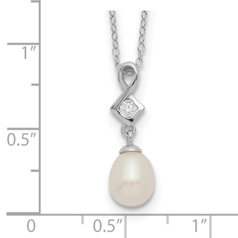 Sterling Silver Rhod-plat 6-7mm White Rice FWC Pearl CZ Necklace-WBC-QH5497-17