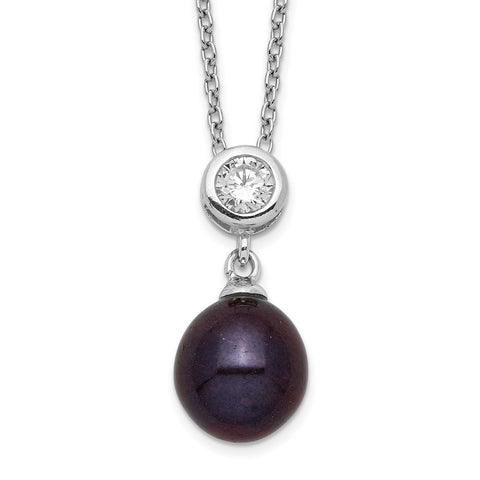 Sterling Silver Rhod-plat 8-9mm Black Rice FWC Pearl CZ Necklace-WBC-QH5500-17