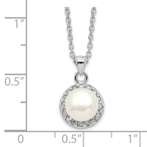 Sterling Silver Rhod-plat 7-8mm White Button FWC Pearl CZ Necklace-WBC-QH5505-17