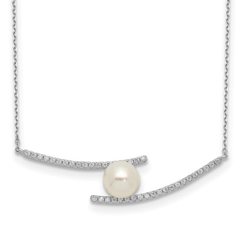 Sterling Silver Rhod-plat 7-8mm White Button FWC Pearl CZ Necklace-WBC-QH5506-17