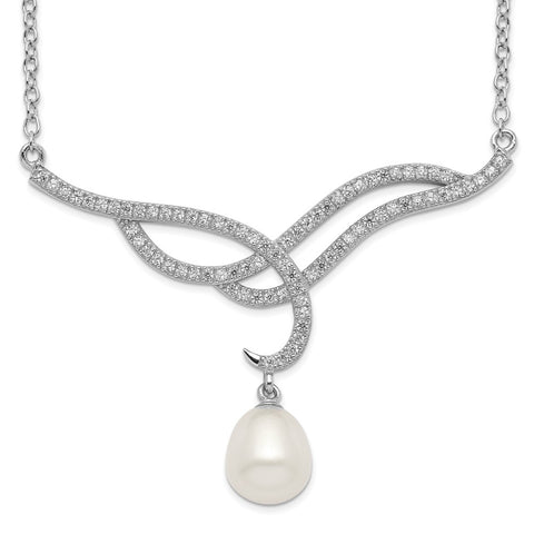 Sterling Silver Rhod-plat 8-9mm White Rice FWC Pearl CZ Necklace-WBC-QH5536-18