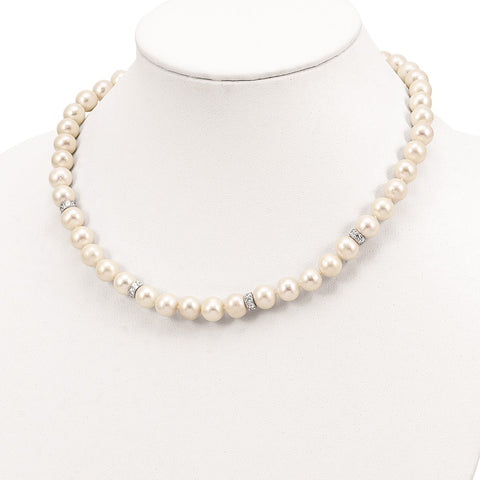 Sterling Silver Rhod-plat 9-10mm White off round FWC Pearl CZ Necklace-WBC-QH5547-18