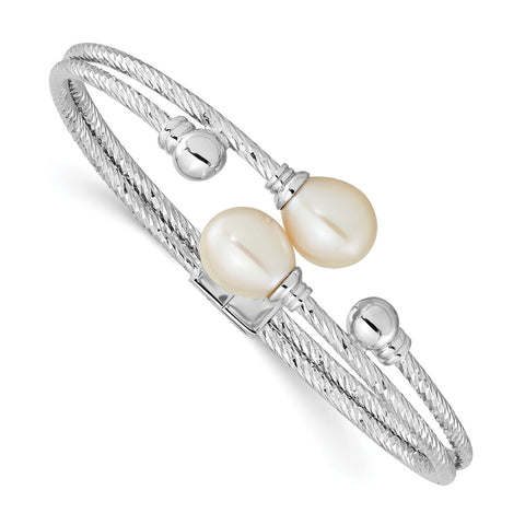 Sterling Silver Rhod-pl 8x10mm White Teardrop FWC Pearl Hinged Bangle-WBC-QH5644