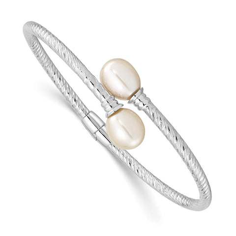 Sterling Silver Rh-pl 8-9mm White Rice FWC Pearl Hinged Bangle-WBC-QH5645