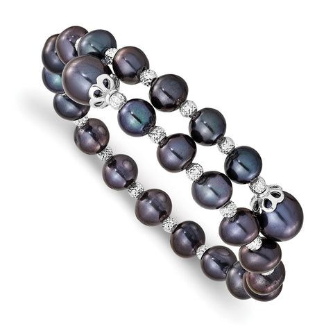Sterling Silver Rh-pl D/C 7-9mm Black Rice/Off-round FWC Pearl Wrap Bracele-WBC-QH5647