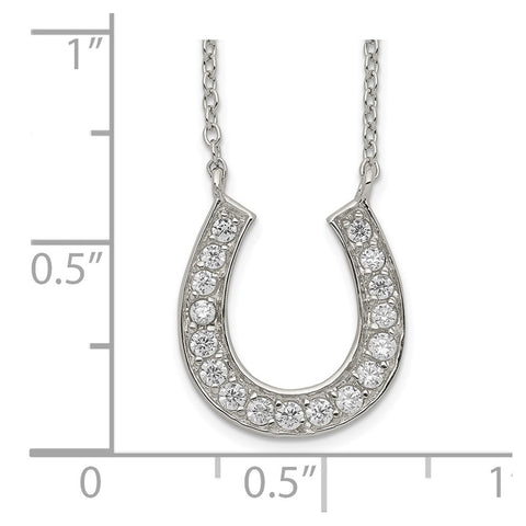 Sterling Silver Horseshoe 16in w/2in ext CZ Necklace-WBC-QH777-16