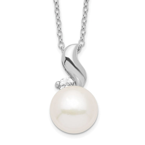 Sterling Silver Rhodium 9-10mm White FWC Pearl CZ Necklace-WBC-QP4631