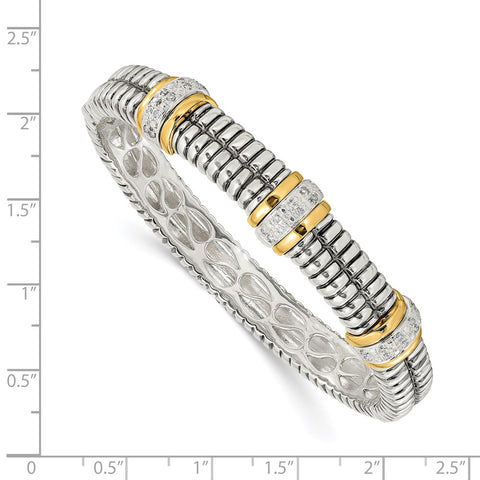 SS w/14k True Two-tone 1/4ct. Diamond Bangle Bracelet-WBC-QTC114