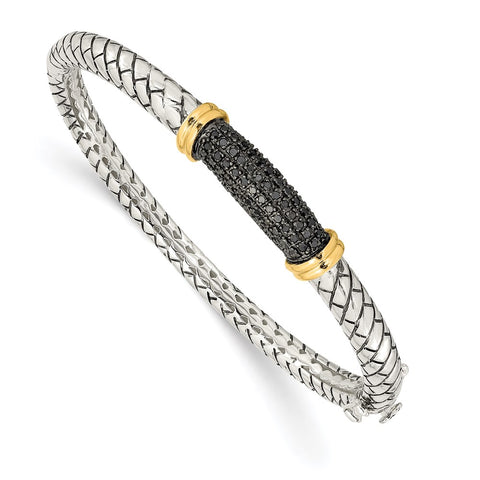SS w/14k True Two-tone Black Diamond Bangle Bracelet-WBC-QTC1169