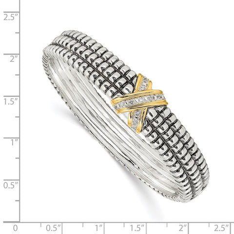 SS w/14k True Two-tone 1/15ct. Diamond Bangle Bracelet-WBC-QTC117