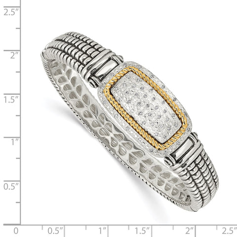 SS w/14k True Two-tone 1/4ct. Diamond Bangle Bracelet-WBC-QTC121