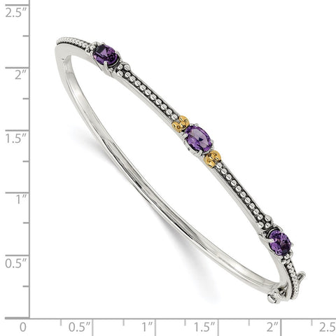 Sterling Silver w/14ky Amethyst Hinged Bangle-WBC-QTC1277