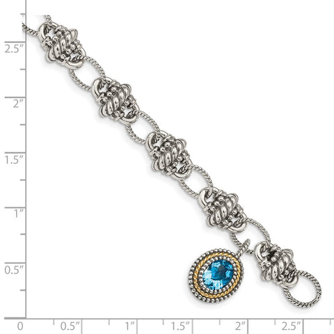 Sterling Silver w/14k Light Swiss Blue Topaz Bracelet-WBC-QTC1284