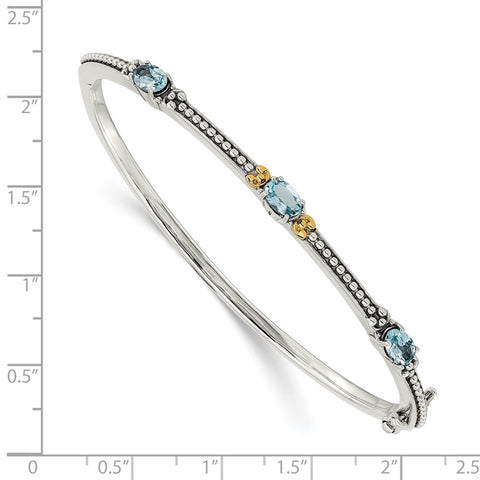 Sterling Silver w/14ky Sky Blue Topaz Bangle-WBC-QTC1333