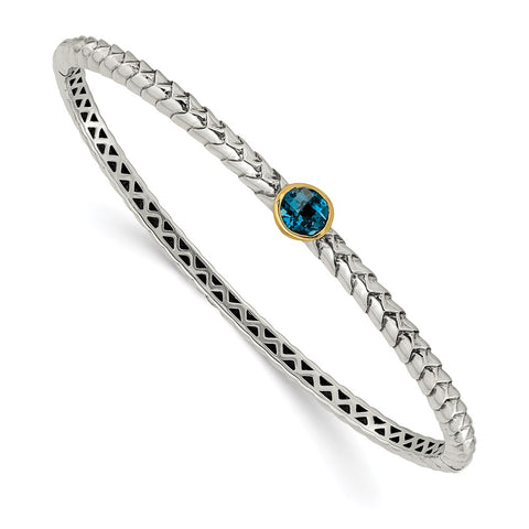 Sterling Silver w/14k London Blue Topaz Bangle-WBC-QTC1352
