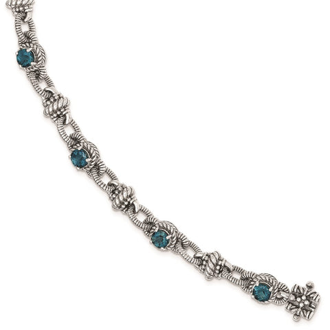 Sterling Silver London Blue Topaz Bracelet-WBC-QTC1375
