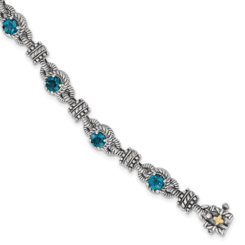 Sterling Silver w/14k London Blue Topaz Bracelet-WBC-QTC1377