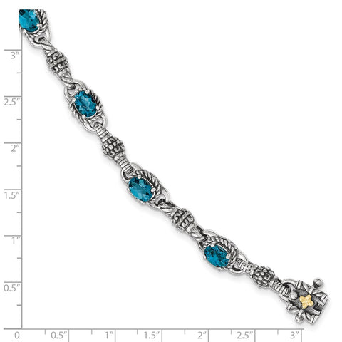 Sterling Silver w/14k London Blue Topaz 7.25 in. Bracelet-WBC-QTC1383