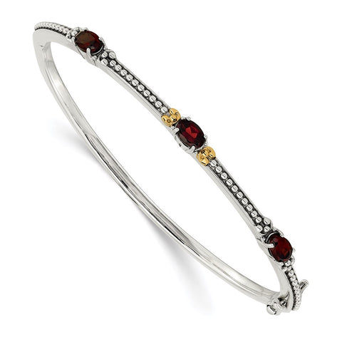 Sterling Silver w/14ky Garnet Bangle-WBC-QTC1387
