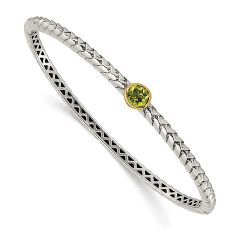 Sterling Silver w/14k Peridot Bangle Bracelet-WBC-QTC139