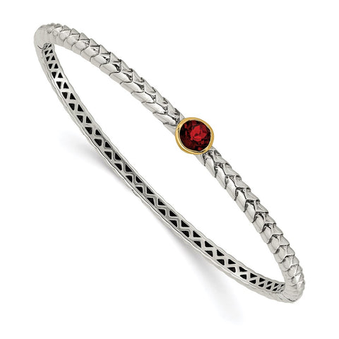 Sterling Silver w/14k 6mm Garnet Bangle Bracelet-WBC-QTC140