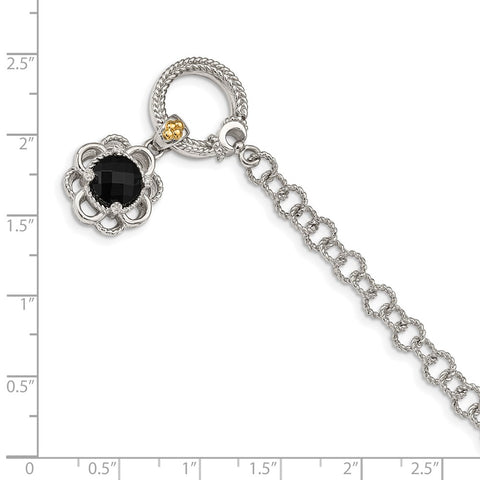 Sterling Silver w/ 14K Accent Onyx & Diamond 7.5in Toggle Bracelet-WBC-QTC1542