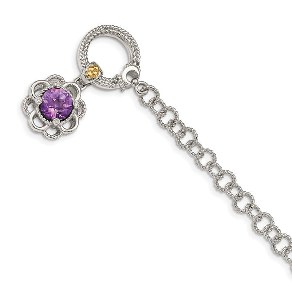 Sterling Silver w/ 14K Accent Amethyst & Diamond 7.5in Toggle Bracelet-WBC-QTC1554