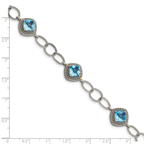 Sterling Silver w/ 14K Accent Light Swiss Blue Topaz 7.5in Bracelet-WBC-QTC1603