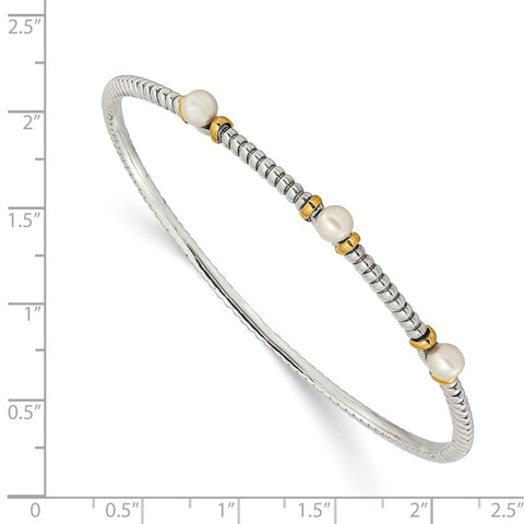 Sterling Silver w/14k 4.5mm FW Cultured Button Pearl Bangle Bracelet-WBC-QTC172