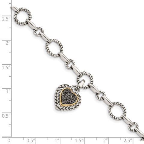 Sterling Silver w/14k Black Diamond Heart Link Bracelet-WBC-QTC178