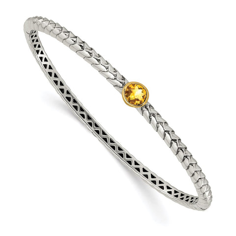 Sterling Silver w/14k 6mm Citrine Hinged Bangle Bracelet-WBC-QTC191