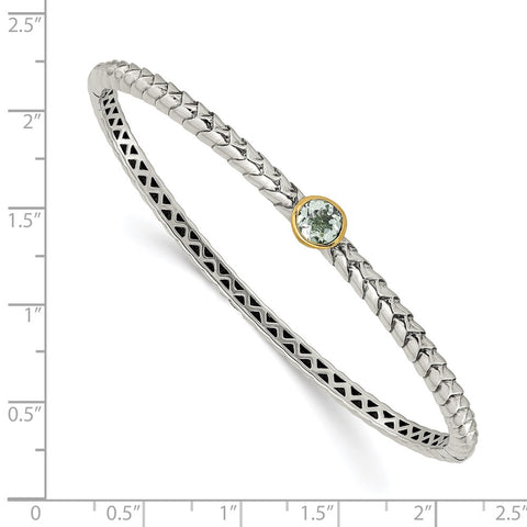 Sterling Silver w/14k Green Quartz Bangle Bracelet-WBC-QTC193