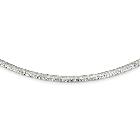 Sterling Silver 4mm Hammered Neckwire Necklace-WBC-QUF43-17