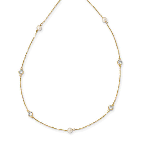 14K Madi K 4-5mm White Round FW Cultured Pearl 3-station CZ Necklace-WBC-SE3008-14