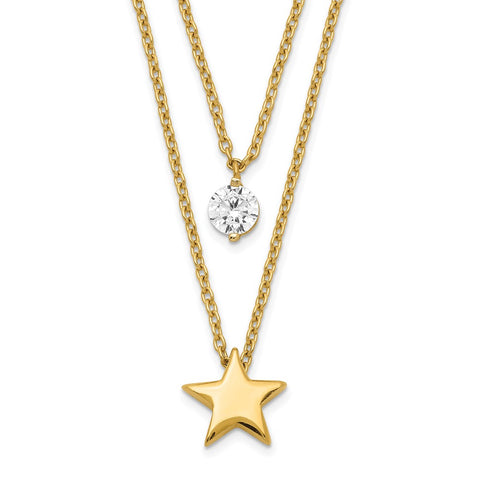 14K Yellow Gold Tiered Star and CZ Necklace-WBC-SF2646-17