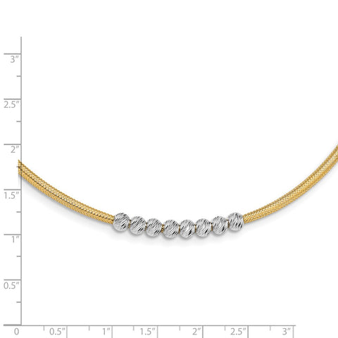 14K Two-tone D/C Beads Stretch Mesh Necklace-WBC-SF2683-17.25