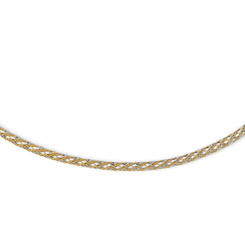 14K Two-tone Woven Mesh Necklace-WBC-SF2685-17.25